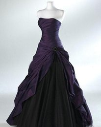 plus size wedding dresses taffeta Australia - Plus Size Purple And Black Ball Gown Gothic Wedding Dresses for Brides Strapless Grey Floor Length Custom Bridal Gowns Vestidos de Novia