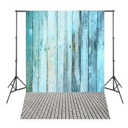 Discount vinyl backdrops bricks - Blue Wood Board Brick Floor Photographic-background for Photo Shoots Vinyl Backdrops for Photography