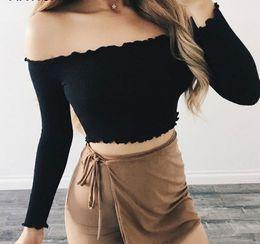 8408b476aa T shirT Tube Top online shopping - Articat Off Shoulder Long Sleeve T Shirt  Women Crop