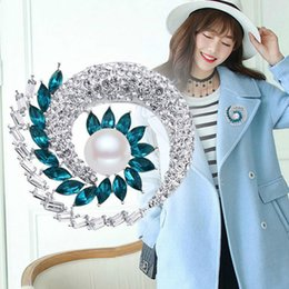 large rhinestone animal brooches Australia - Fashion Women Large Brooches Lady Sun Flower Imitation Pearls Rhinestones Crystal Wedding Brooch Pin Badges Jewelry Accessories