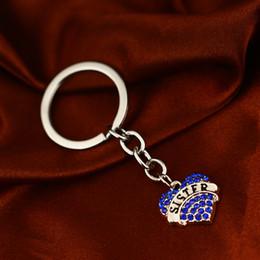 $enCountryForm.capitalKeyWord NZ - 12 Pc Lot Blue Rhinestone Crystal Keychain Key Ring Family Women Girl Friendship Gift Sister Love Heart Charm Keyring Key Holder