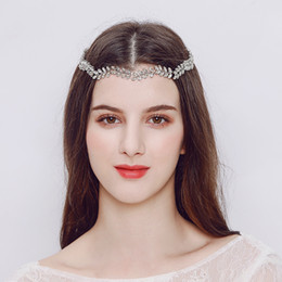 head chain headband Australia - 2018 Simple Leaves Austrian Crystal Headbands Wedding Alloy Head Chain Bride Hair Jewelry Accessories Women Headpieces JCG075