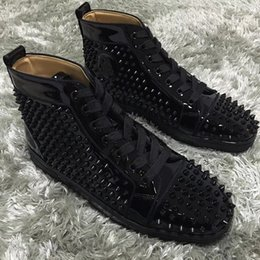 studs boxed Australia - Luxurious Brand Genuine Leather Red Bottom Spikes High Top Sneakers Shoes For Women,Men Casual Walking Fashion Studs Party Dress With Box