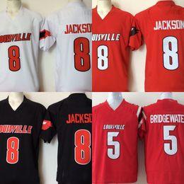 Mens Cheap College Louisville Cardinals Stitched 8 Lamar Jackson 5  Bridgewater Red Black White Football Jerseys ad83689ba