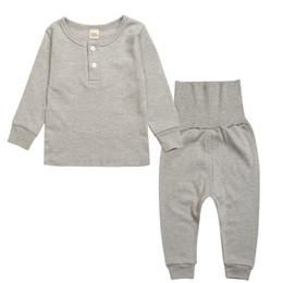 Cotton Tale Baby NZ - pure colour Kids Tales Baby Clothes New 2pcs set Kids Pajamas sets Boys girl Suit T-shirt + pants sets 2-5T sleepwear set