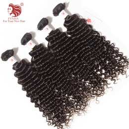 Peruvian Deep Curly Wavy Hair Canada - FYNHA 10 Bundles Deal Peruvian Virgin Hair Deep Curly wavy Wefts Natural Black Color Human Hair Extensions