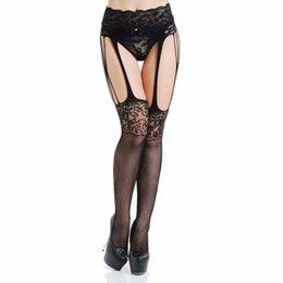 ec0b4f93d Fashion sexy lace garter transparent black fishnet stockings transparent lace  lingerie jacquard non-slip one-piece stocking