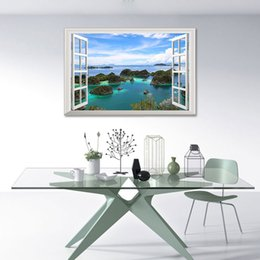 wall stickers home decor window view 2020 - Beautiful island 3D Window View Blue Sea Home Decor Wall Stickers Creative Scenery Living Room Office Decals Stickers