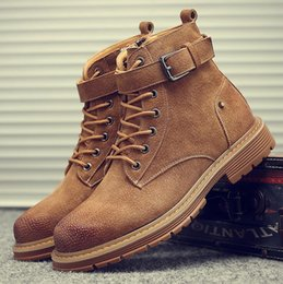 Discount korean cowboy boots leather men - Martin boots men's autumn Korean version of the trend of England short boots men's retro leather boots high to