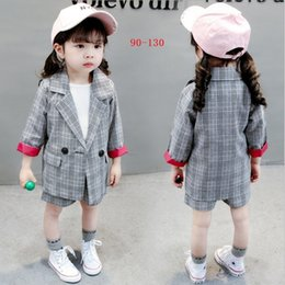 Vieeoease Girls Suits Plaid Kids Clothing 2018 Otoño Long Sleeve Bow Top + Shorts Niños Conjuntos 2 piezas EE-761 en venta