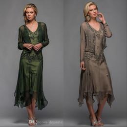 2019 Scala длина чая мать невесты жених платья с Болеро аппликации и бисером V шеи линии вечерние платья плюс размер на Распродаже