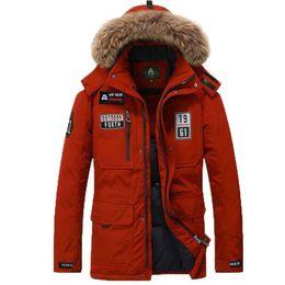 Pad Jacket Canada - Wholesale-Fur Hooded Collar Men Winter Coat Long Multi Pocket White Duck Down Padded Jacket Snow Warm Windbreaker Fur Mens Parka Thick