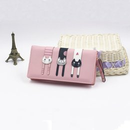 Envelope Long Wallet Canada - Long Creative Female Card Holder PU Wallet Coin Purses Girls Fashion Envelope Women Wallet Cat Cartoon Wallet