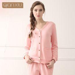 1dd3e0bf78 2016 Qianxiu New Soft Knitted Cotton Long Sleeve Solid Pajamas Set for  Couple Comfertable Home Sleepwear Lovers Pijama 1347