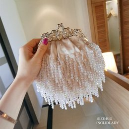 Lady Handbags Handmade Canada - free shipping Vintage tassel silks and satins handmade beaded bag bridal bag handbag women's handbag evening cheongsam