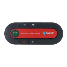 Chinese  New Red Wireless Bluetooth 4.1 Hands-free Car Charger Sun Visor Speakerphone Car Kit Bluetooth Receiver Speaker MP3 Music Player manufacturers