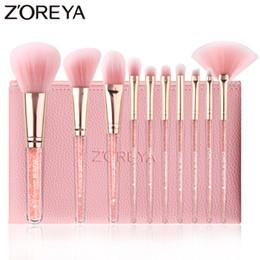 $enCountryForm.capitalKeyWord NZ - ZOREYA 10PCS Pink Crystal Makeup Brushes Foundation Concealer Blusher Make Up Brush Set Super Soft Synthetic Hair Cosmetic Tools D18111302