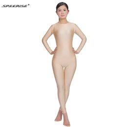 Wholesale one lycra suit green online – ideas Womens Ballet Dance Unitard Long Sleeve Scoop Neck Full Length Unitards One Piece Lycra Spandex black Bodysuit Fitness Gymnastics Yoga suit