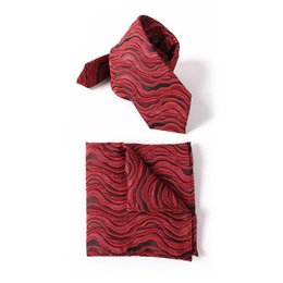 China Free Shipping TIESET Unique Wrinkle Process Of Necktie & Hanky Set Refined Personality Ripple Pattern Necktie For Party Dinner And Festival suppliers