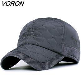 fc25a6c908b VORON 2017 Warm Winter Baseball Cap Men Brand Snapback Black Solid Bone  Baseball Mens Winter Hats Ear Flaps