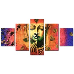Chinese  Buddha Canvas Wall Art Flower and Candles Picture Prints on Canvas Modern Peaceful Home Living Room Decor Artwork Framed manufacturers