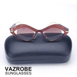 15f5c870c1 Vazrobe Small steampunk Sunglasses Women Vintage Sun glasses eye shape  Goggles Retro shades Novelty Red Mirrored case free 2017