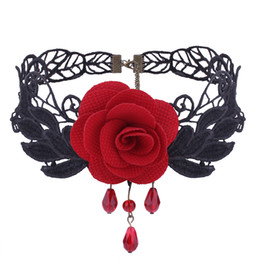 099226a1d2406 rose lace chokers Gothic retro necklace Hollow out Jewelry Pendant necklace  two colors black red freeshipping