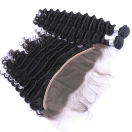 Virgin Deep Curly Brazilian Hair UK - Deep Curly Hair Bundles With Lace Frontal Closure Brazilian Virgin Hair Bleaches Knot Ear To Ear Full Lace Frontal With Hair Extensions