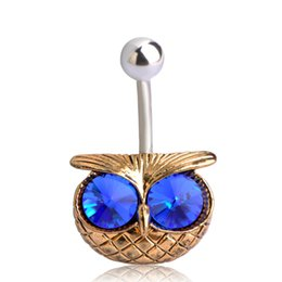 Vintage pearl ring gold online shopping - Cute Green Eye Owl Couro Joias De Pedras Preciosas Belly Button Rings Piercing Navel Umbigo Body Jewelry Vintage Pircing Bijoux