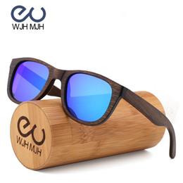 7a4f778d8 WJH MJH Black Wood Bamboo Polarized Sunglasses Mens Glasses UV 400  Protection Eyewear in Wooden Original Box lentes de bamboo