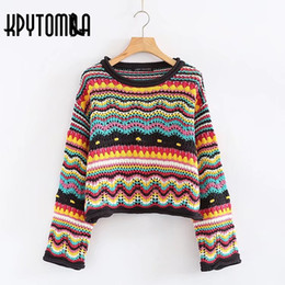d514d499e35 Vintage Sweet Multicolored Yarn Short Knit Sweater Women 2018 New Fashion O  Neck Long Sleeve Ladies Pullovers Casual Pull Femme S18100903