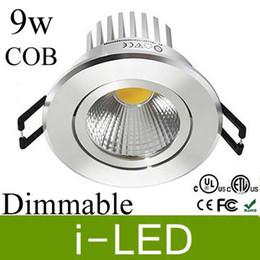 12v 9w Driver Australia - Silver shell led cob downlight dimmable 9w 600lm led Recessed Spot light Cabinet lamp 12v   110-240v 120 angle +Led driver UL CE