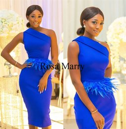 cheap feather prom dresses 2019 - Royal Blue Feather Short Cheap Cocktail Party Dresses 2020 Sheath One Shoulder Plus Knee African Arabic Formal Evening P