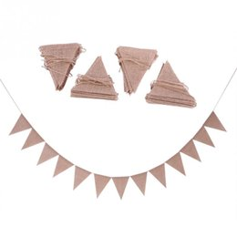 $enCountryForm.capitalKeyWord UK - Linen Bunting Flags Wedding Party Holiday Celebration 48pcs set DIY Decoration Suitable Hang In Home Garden Etc