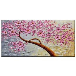 modern floral oil paintings Canada - 100% Hand Painted 3D Oil Paintings on Canvas Large Modern Abstract Wall Art Texture Picture Purple Pink Plum Blossom Art for Living Room