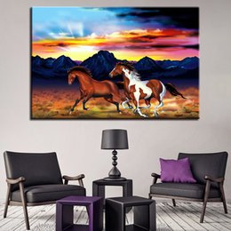 hd painting horse run Australia - Canvas Wall Art Pictures 1 Piece Pcs Two Horses Running Paintings Home Decor Room HD Prints Abstract Landscape Poster Framework