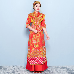 ab741bf68 Red Chinese Ancient Women Qipao Phoenix Asian Bride Wedding Dress Gown  Tassel SuZhou Embroidery Cheongsam Royal Marriage Suit