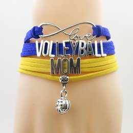 volleyball bracelets 2019 - Infinity love volleyball mom Bracelet handmade volleyball charm bracelets blue with yellow bracelets & bangles for woman