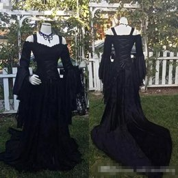 medieval gothic wedding dresses 2019 - Vintage Black Gothic Lace Wedding Dresses A Line Medieval Off the Shoulder Straps Long Sleeves Corset Bridal Gowns Victo
