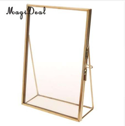 portrait stand 2019 - MagiDeal Antique Brass Glass Picture Photo Frame Portrait Free Stand 3.5 x 5 inch-Great Quality Gift for Wedding Friends