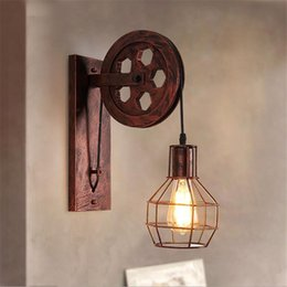 Bra Pendants NZ - Loft Retro Lanterns Fixtures Pulley Wall Lamp Pendant Suspension Light Fitting Kitchen Bedroom Living Room Wall Lamp Bra Sconce
