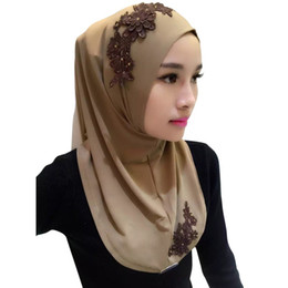 Chinese  Ladies Lace Embroidery Headband Hijab Islamic Scarves Bonnet Shawls Muslim Scarf Women Hijab Islamic 2018 11 Colors high quality manufacturers