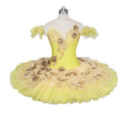 classical ballet costumes tutu Canada - Adult Canary Fairy Professional Ballet Tutu Yellow Gold Platter Plate Tutu Skirt Performance Classical Ballet Costume For Women BT9024