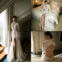 Discount satin keyhole back wedding dress - Sexy Keyhole Neck Mermaid Wedding Dresses with Long Sleeve 2018 High Neck Backless Vintage crochet Lace Crystal Princess