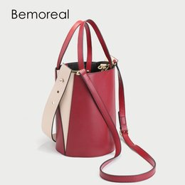 Handbags For Cell Phones Canada - Bemoreal Small Messenger bags for women Patchwork Phone bag Split Leather Bucket Crossbody bag fashion handbag shoulder bags