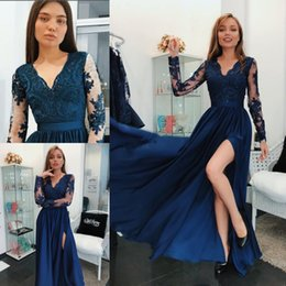 $enCountryForm.capitalKeyWord NZ - 2018 Arabic Royal Blue Prom Dresses V Neck Sheer Long Sleeves Beaded Lace Applique Side Split Ankle Length Chiffon Formal Prom Evening Gowns