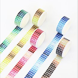 Wholesale 20mm gradients grid washi tape DIY decoration scrapbooking planner masking tape adhesive label school office supplies