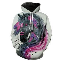 Discount horse sweatshirts hoodies Horse 3D Hoodies Sweatshirts Men Women Hoodie Casual Tracksuits Fashion Brand Pullover 6 Styles Coats Couple Top S-5XL