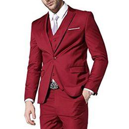 $enCountryForm.capitalKeyWord UK - Cheap Three Piece Custom Made Red Wedding Men Suits Trim Fit Groom Wedding Tuxedos Men Party Suit ( Jacket+Vest+Pants)