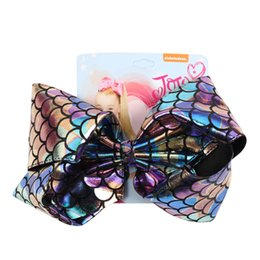 """$enCountryForm.capitalKeyWord Australia - 8"""" Mermaid Hair Bows With Clips For Kids Girls Boutique Printed Metallic Leather Ribbon Bows Hairgrips Children Hair Accessories"""